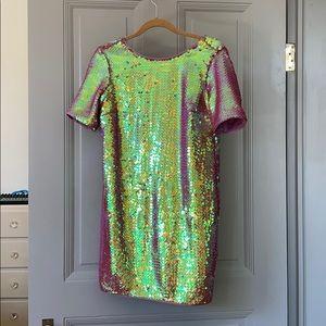 ASOS Pink Duochrome Sequin Shift Dress